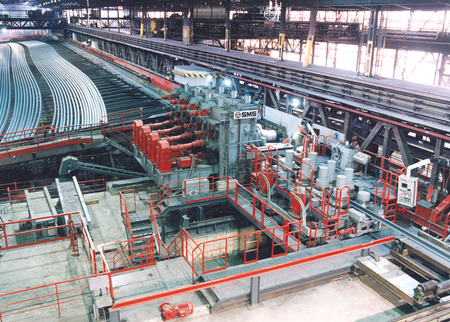 Roller leveler and rail cooling bed (120 m) in Donawitz
