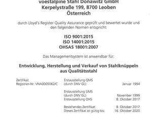 Geprüfte Qualität bei voestalpine Stahl Donawitz